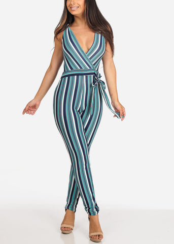 Image of Women's Junior Ladies Sexy Going Out Night Out Party Clubwear Sleeveless Teal Navy And White Stripe Jumper Jumpsuit