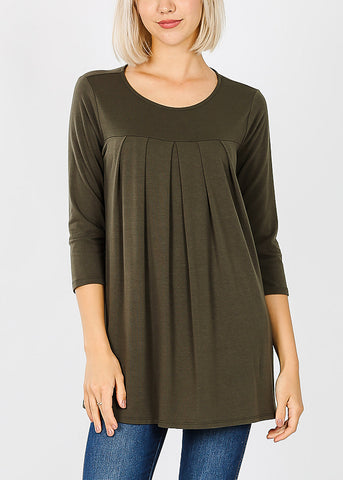 3/4 Sleeve Pleated Olive Tunic Top
