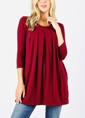3/4 Sleeve Pleated Burgundy Tunic Top
