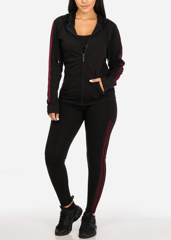 Black And Burgundy Workout Leggings Top Jacket (3 PCE SET)