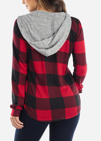 Red Plaid Zip Up Hooded Shirt