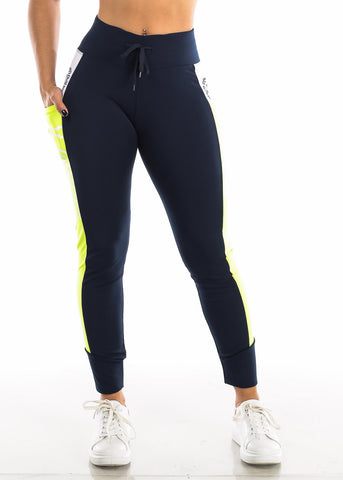 "Activewear Neon Green & Navy Leggings ""Love"""