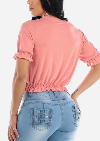 Image of Ruffled Pink Crop Top