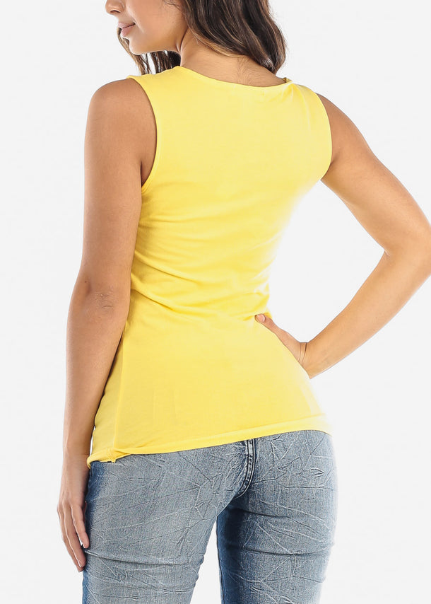 Partial Floral Mesh Yellow Tank Top