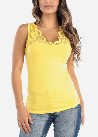 Image of Partial Floral Mesh Yellow Tank Top