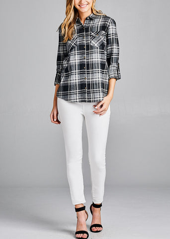 Cotton Three Quarter Sleeve Plaid Button Up Black Shirt