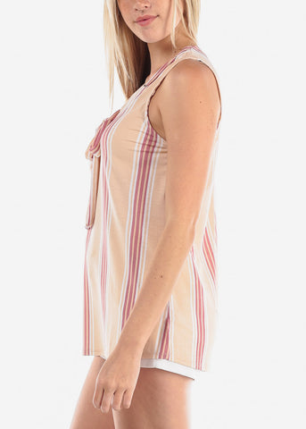 Image of Women's Junior Ladies Sexy Dressy Casual Going Out Sleeveless Stripe Beige Blouse Top
