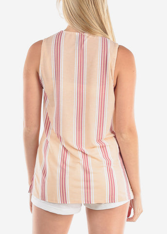 Women's Junior Ladies Sexy Dressy Casual Going Out Sleeveless Stripe Beige Blouse Top