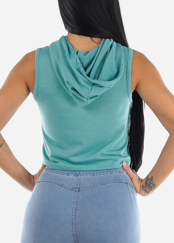 Sleeveless Green Cropped Hoodie