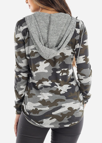 Grey Camo Zip Up Hooded Shirt