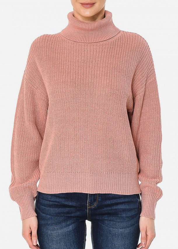 Turtle Neck Oversized Mauve Sweater