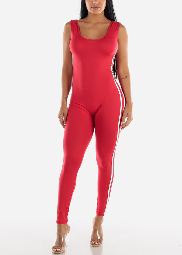 Stripe Sides Red Jumpsuit