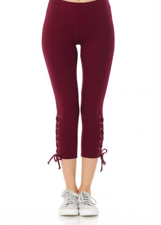 Cotton High Rise Burgundy Capri Leggings