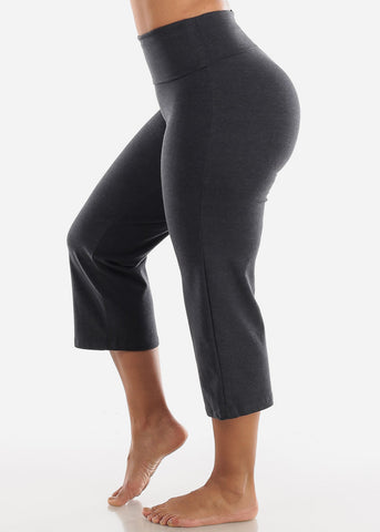 Image of Charcoal Cotton Spandex Fold Over Crop Yoga Pants