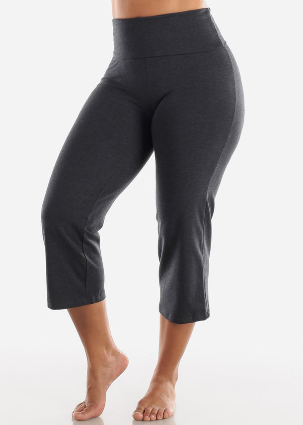 Charcoal Cotton Spandex Fold Over Crop Yoga Pants