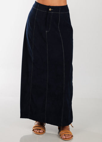 1 Button Zip Up High Waisted Long Navy Maxi Skirt For Women Ladies Junior On Sale Fashionable New 2019