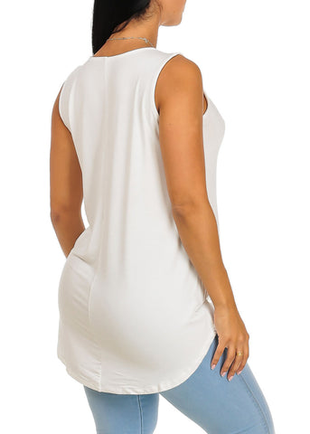 Sleeveless Ivory Super Stretchy First Of All Graphic Print Tank Top