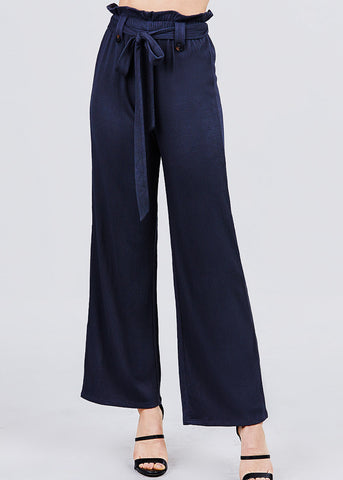 High Waisted Belted Navy Pants