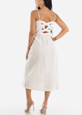 Image of Button Up Off White Cotton Maxi Dress