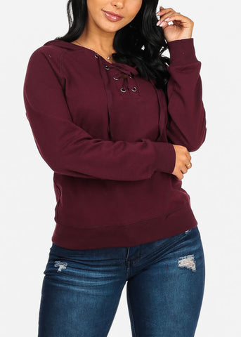 Image of Lace Up Burgundy Sweater Hoodie