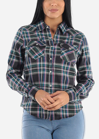 Snap Up Black Plaid Shirt