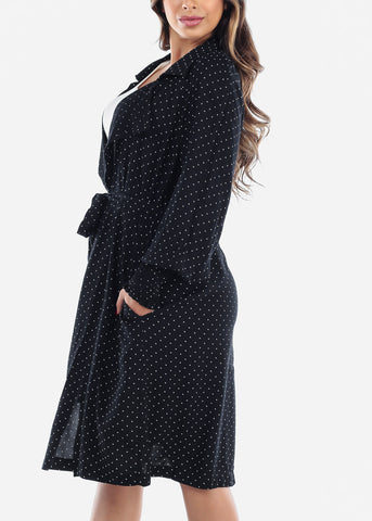 Long Sleeve Black Polka Dot Long Blazer Coat For Travel Office New Trend Winter 2019 Coats With Pockets For Women Junior Ladies