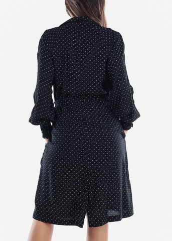Image of Black Polka Dot Trench Coat Jacket