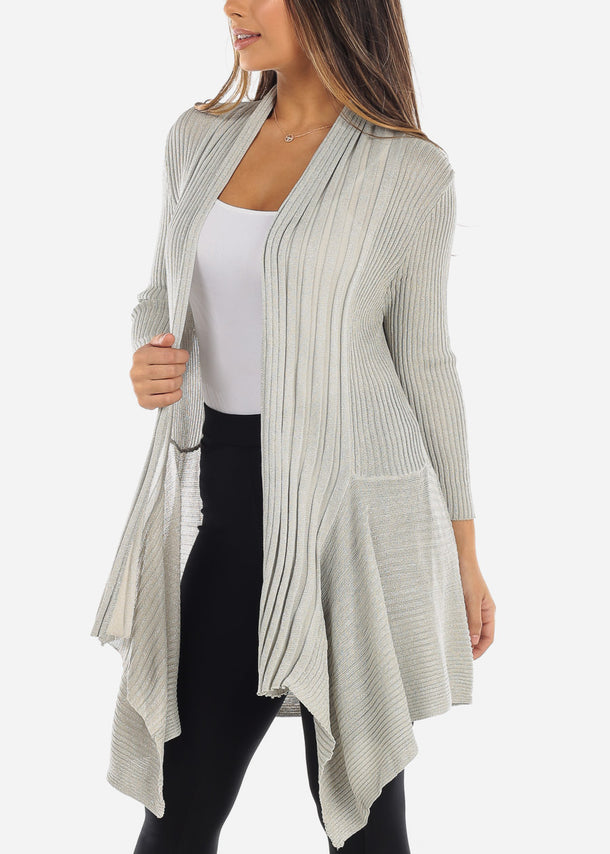 Asymmetric Metallic Silver Cardigan