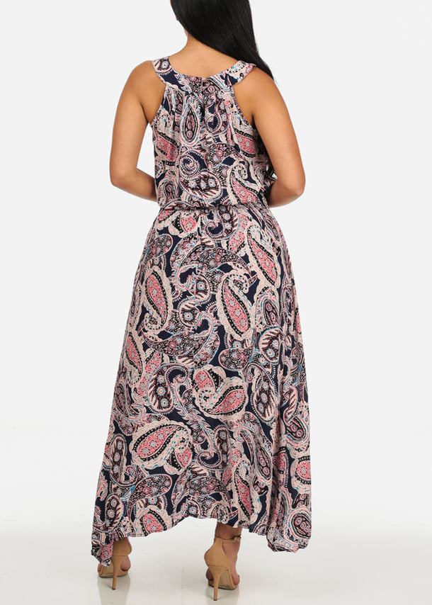 Sleeveless Paisley Printed Navy Dress