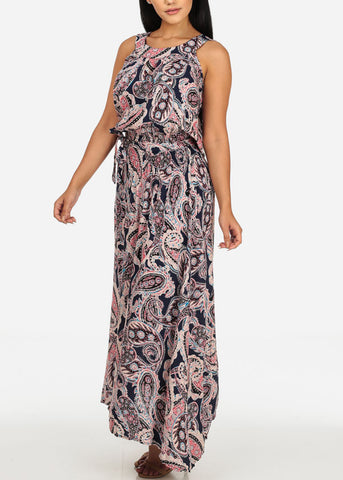 Image of Sleeveless Paisley Printed Navy Dress
