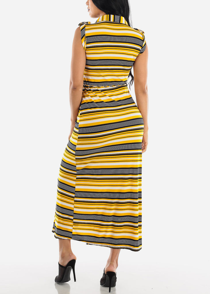 Short Sleeve Stripe Yellow Maxi Dress