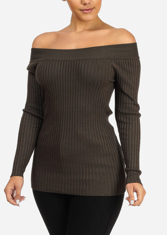 Ribbed Knitted Olive Top