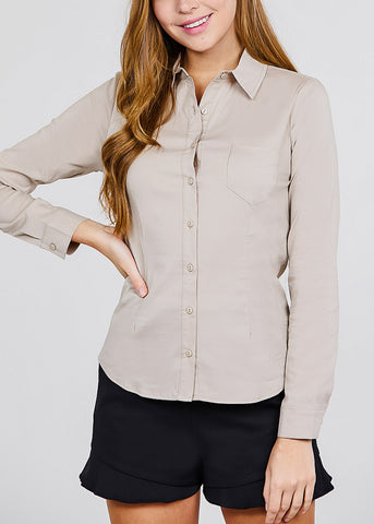 Image of Khaki Button Up Shirt