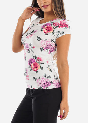 Casual Cute White Flower Print Stylish Top For Women Ladies Juniors At Discounted Prices