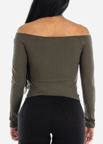 Off Shoulder Ribbed Olive Top