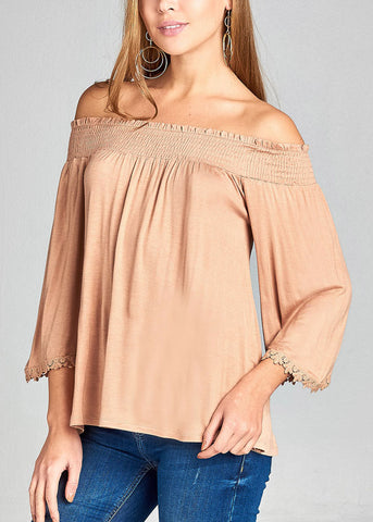 Image of Stylish Off Shoulder 3/4 Sleeve Stretchy Beige Top