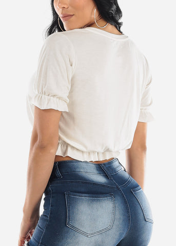 Image of Ruffled White Crop Top