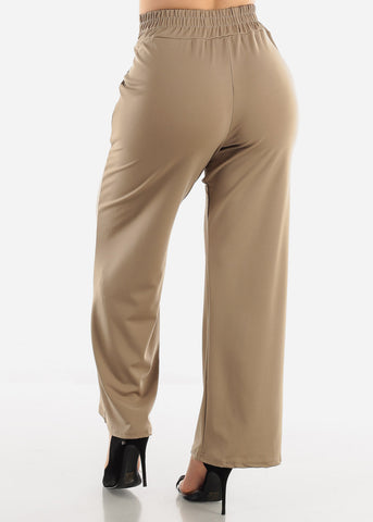 Image of Khaki High Waist Dressy Pants