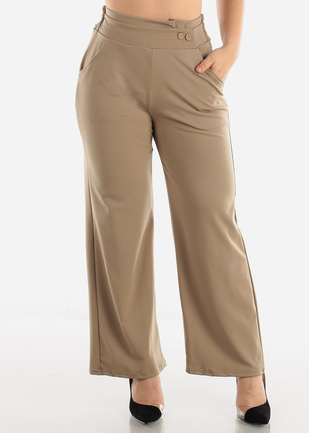 Khaki High Waist Dressy Pants