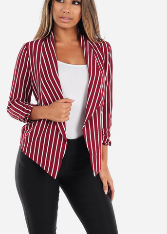 Image of Red Stripe Open Blazer