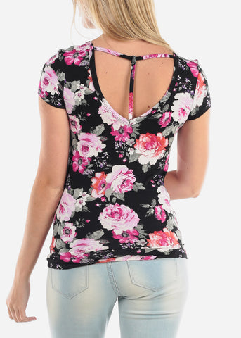 Women's Junior Ladies Casual Cute Stylish Short Sleeve Black Flower Floral Print Top With Back Keyhole Design