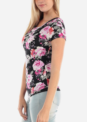 Image of Women's Junior Ladies Casual Cute Stylish Short Sleeve Black Flower Floral Print Top With Back Keyhole Design