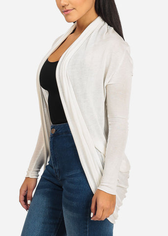 Ivory Cardigan Back Ruched Design