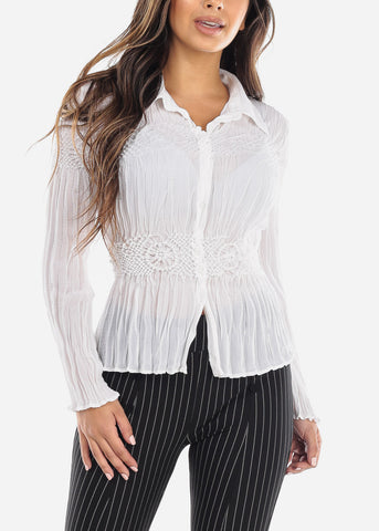 Image of White Pleated Crinkle Blouse