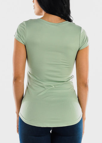 Short Sleeve Mint V Neck Top