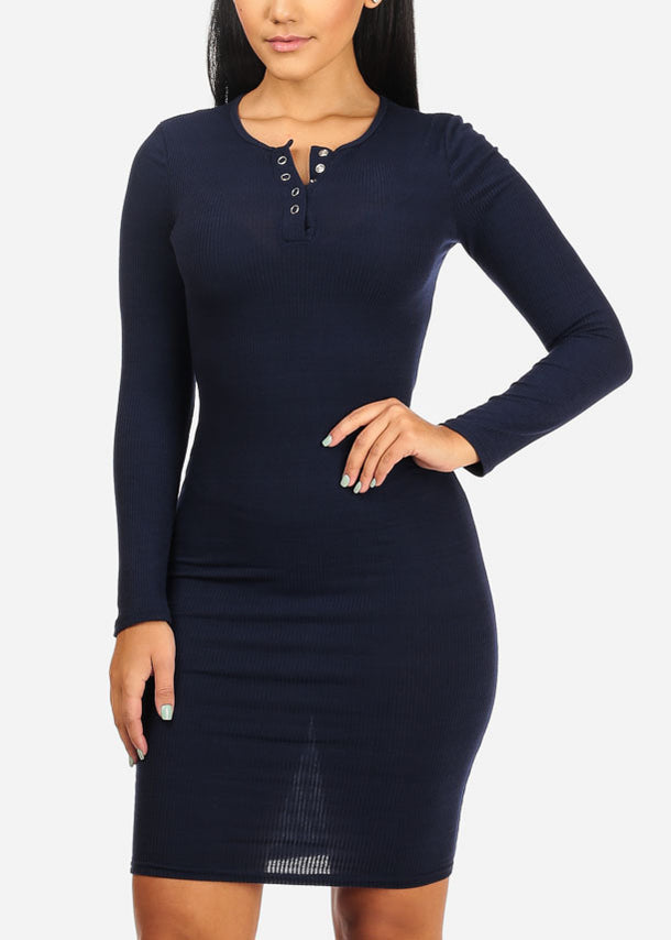 Navy Bodycon Stretchy Dress