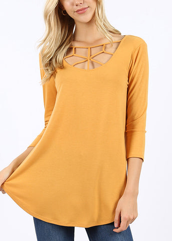 Web Detail Mustard Tunic Top