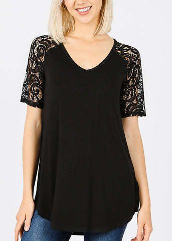 Floral Lace Sleeves Black Tunic Top