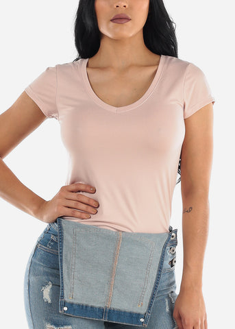 Image of Basic V Neck Rose Top