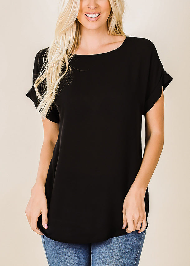 Lightweight Short Sleeve Black Top